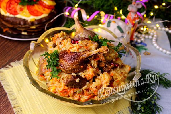 Утка с рисом и овощами в мультиварке