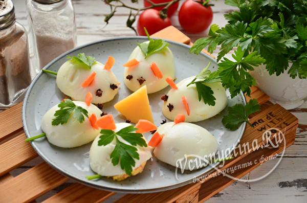 """Фаршированные яйца """"Мышки"""""""