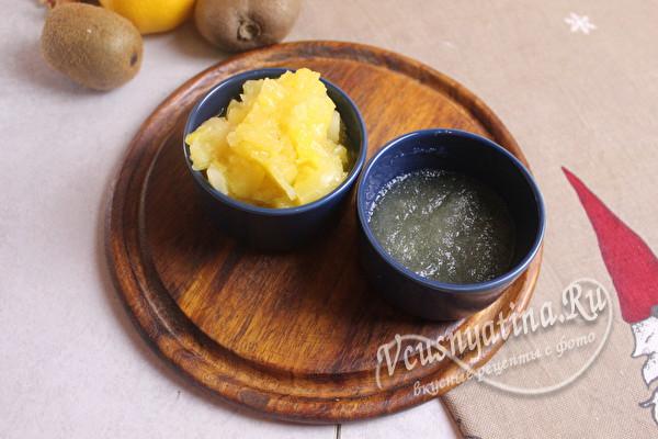 желатин и мякоть ананаса