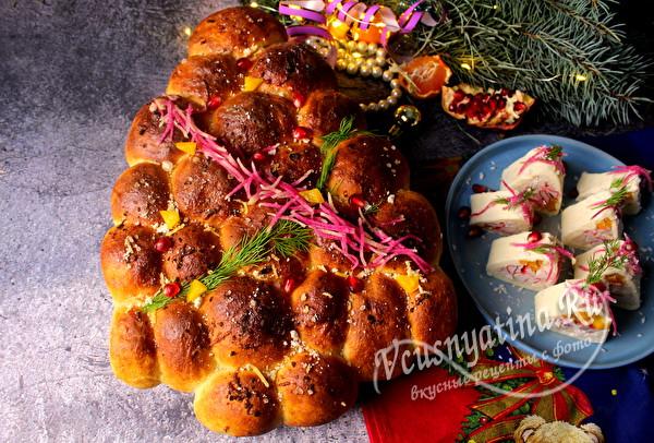 новогодний хлеб с сыром