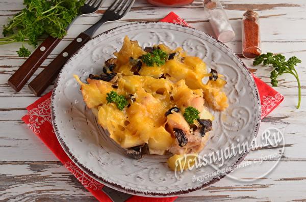 запеченная курица с картошкой и грибами