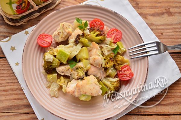 запеченное блюдо из курицы с овощами
