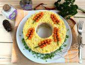 Салат «Мимоза» с рисом и консервой