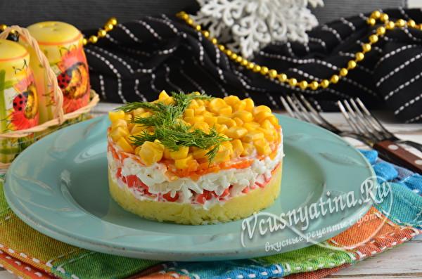 Салат «Мимоза» с крабовыми палочками и кукурузой