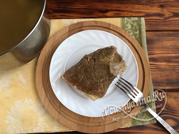 проверяем кусочек мяса