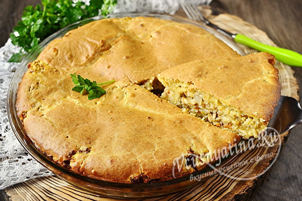 заливной пирог с рисом