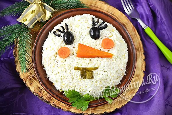 """Салат на Новый год """"Снеговик"""""""