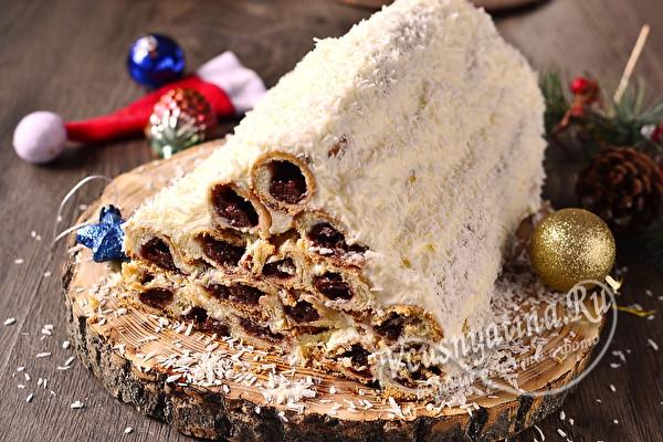 """торт """"Монастырская изба"""" с консервированной вишней"""