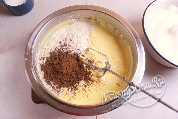 ввести какао и муку