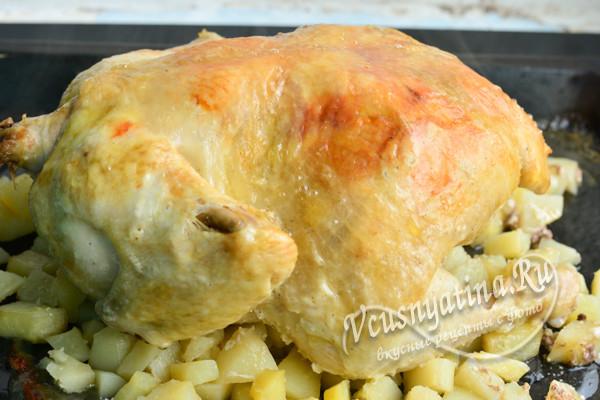 запеченная курица на картошке