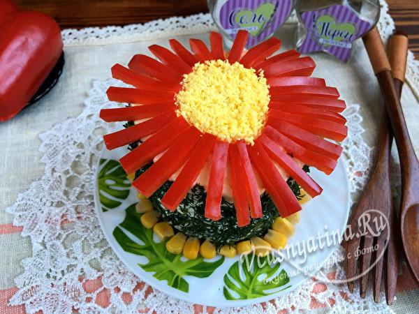"""праздничный салат """"Цветочек"""" с перцем"""
