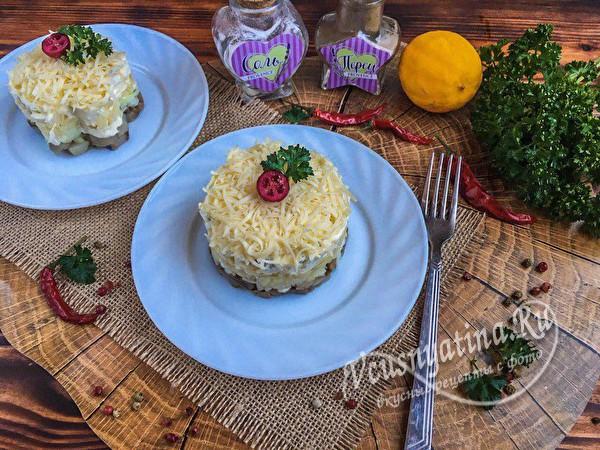слоеный нежный салат с селедкой