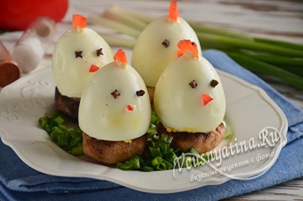фаршированные яйца на грибах