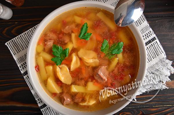 готовый суп с мясом