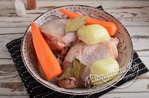 подготовить овощи и курицу