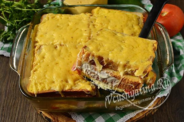 Сэндвич из вчерашнего хлеба с сыром и помидорами