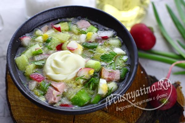 Окрошка с колбасой и квасом - самые классические рецепты