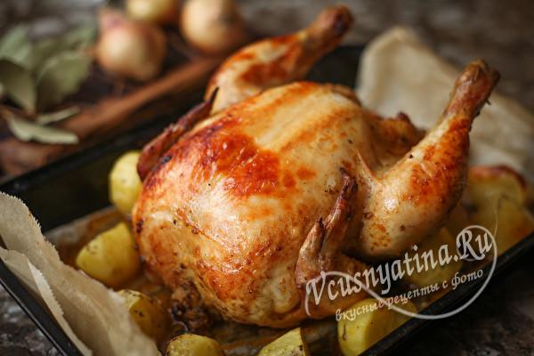 Курица на банке с картошечкой в духовке