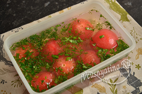 Быстрые маринованные помидоры без кожицы - малосольные и вкусные