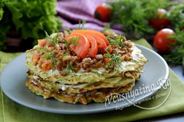 Торт из кабачков с фаршем и помидорами – любимый и самый вкусный