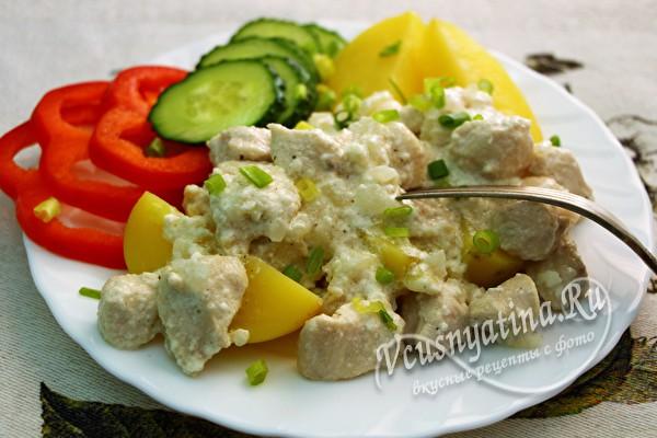 куриное филе с сыром и овощами