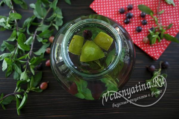 Компот из крыжовника с мятой на зиму - рецепт на 3 литра
