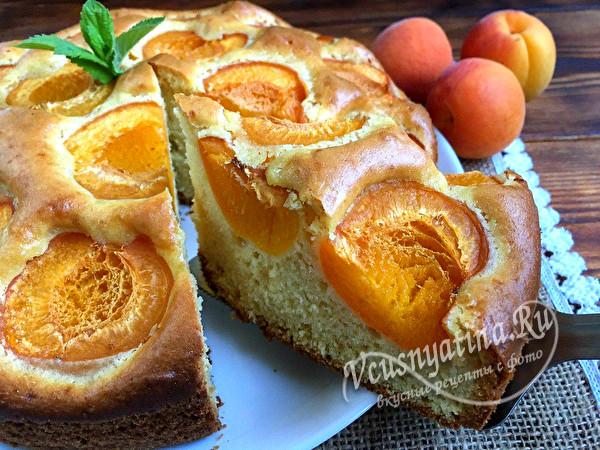 Очень вкусный пирог с абрикосами - удачный рецепт на кефире