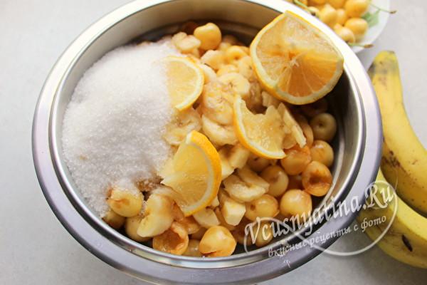 Рецепт варенья из белой черешни с лимоном и бананом