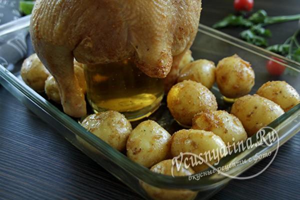 Курица на банке с пивом в духовке - готовить очень просто
