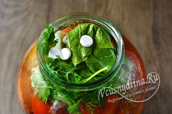 Помидоры с аспирином и холодной водой - рецепт на 3-ех литровую банку