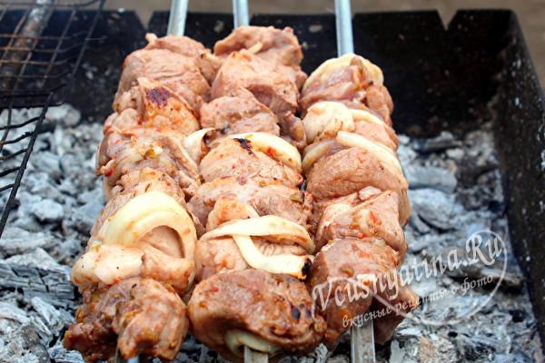 Шашлык из свинины с аджикой – маринад обалденный и мясо сочное