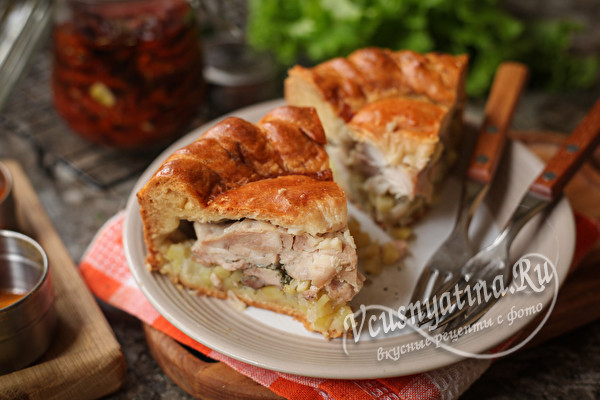 Курник с курицей и картошкой - сытный и очень вкусный