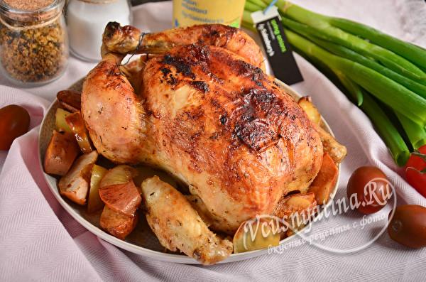 Курица с айвой и картошкой в духовке целиком