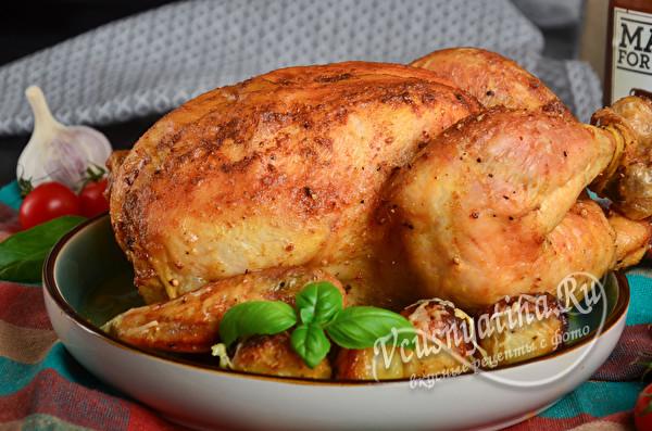 Курица запеченная целиком с яблоками и апельсинами