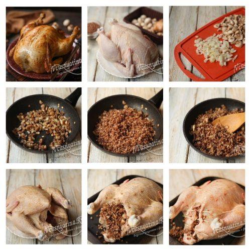 Курица фаршированная гречкой и грибами в духовке