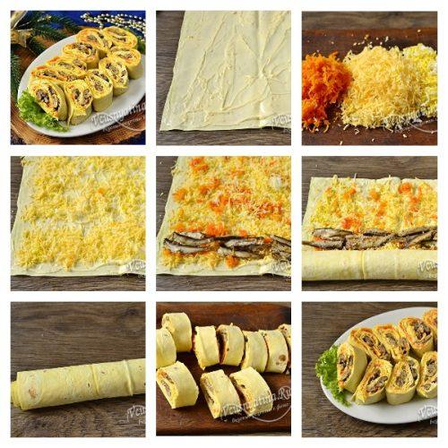 Лаваш со шпротами, яйцом и сыром