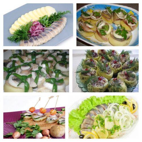 Селёдка с картошкой, луком и маслом к праздничному столу