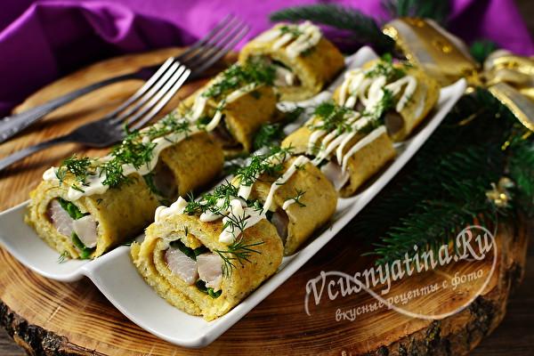 картофельные роллы с селедкой