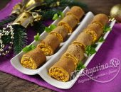 Рулеты из печеночных блинов с овощной начинкой