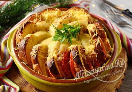 Пирог из батона с ветчиной и сыром в духовке