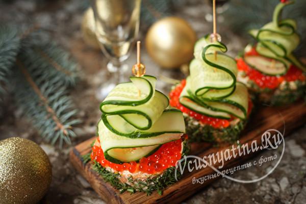 Бутерброды с красной икрой на праздник