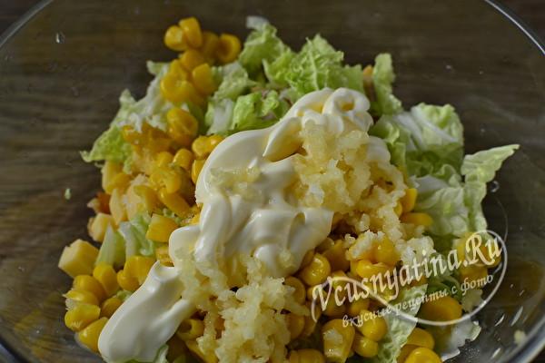 Салат с пекинской капустой и копченой курицей – быстро и вкусно