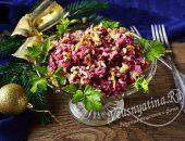 Салат из свеклы, куриной печени, соленых огурцов