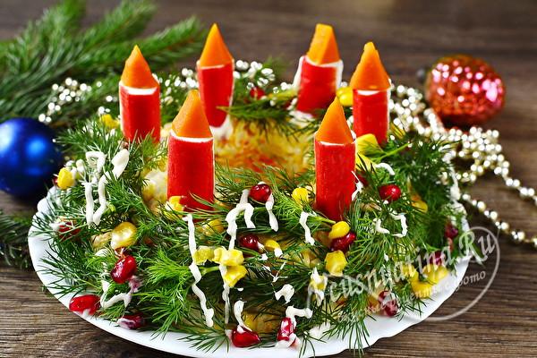Салат «Рождественский венок со свечами» - красивый праздничный салатик