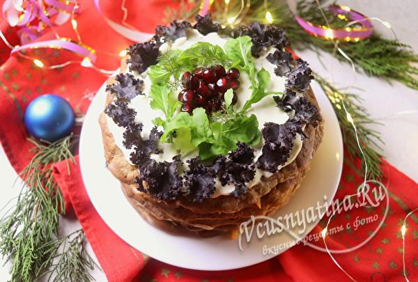 Очень вкусный печеночный тортик из говяжьей печени