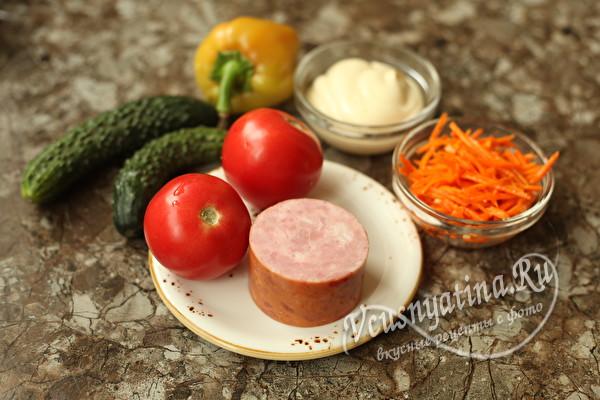 Очень вкусный салат с корейской морковью и ветчиной