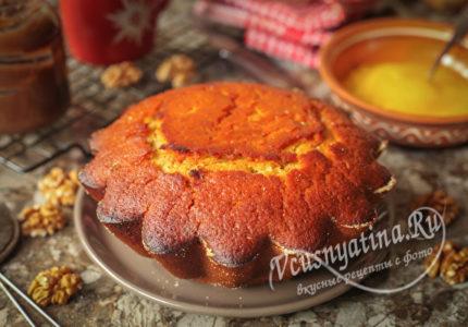 Постный медовый пирог с орехами