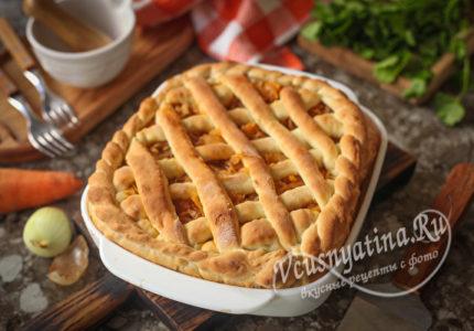 Постный пирог с капустой из дрожжевого теста