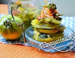 Закуска из зеленых помидор на зиму – рецепт пошагово