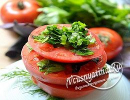 Маринованные помидоры кружочками с зеленью и чесноком по быстрому